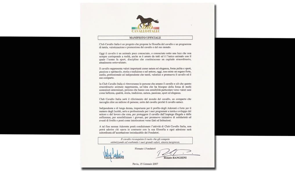 La Storia di Club Cavallo Italia il Manifesto